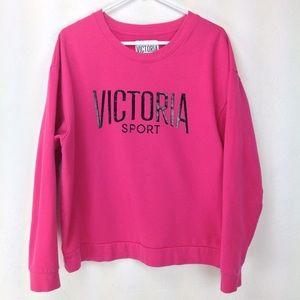 Victoria Sport Spellout black on pink sweatshirt